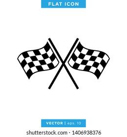 Racing Flag Icon Vector Design Template