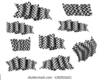 Racing flag isolated 3d icons and symbols for auto race sport. Waving flag with black and white checkered pattern. Rally speed competition, motocross or car racing themes design