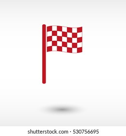 Racing flag - red vector  icon with shadow