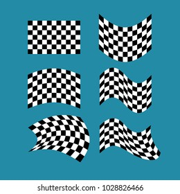 Racing flag set. Finish banner Collection. Vector illustration