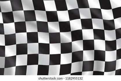 Racing flag waving in the wind, 3d illustration background. Car race sport, auto and motorcycle speed competition. Back and white checkered pattern, rally and motocross, start and finish idea