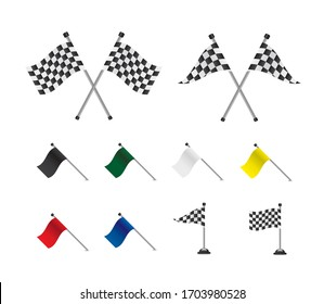 Racing flags set on white backgrounds