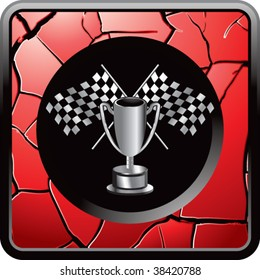 racing flags and trophy on interesting web button