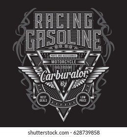 Racing gasoline motorcycle typography, tee shirt graphics, vectors