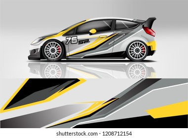 Racing Hatchback car wrap decal and sticker design. vector eps 10 format.