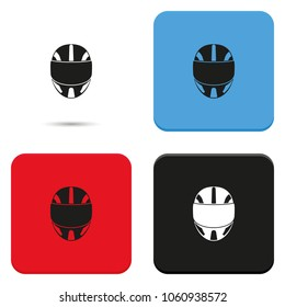 Racing helmet flat vector icon.