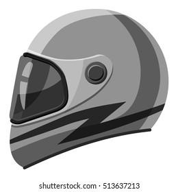 Racing helmet icon. Gray monochrome illustration of helmet vector icon for web design