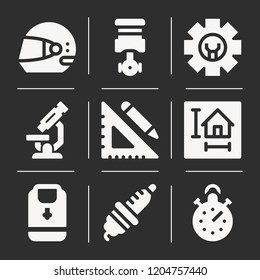Racing helmet, piston, microscope, spark plug, ruler and pencil, blueprint, backpack, stopwatch icon set suitable for info graphics, websites and print media and interfaces