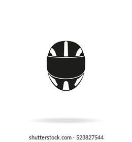 Racing helmet vector icon. Moto helmet illustration.
