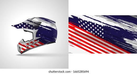 Racing helmet wrap decal and vinyl sticker design illustration