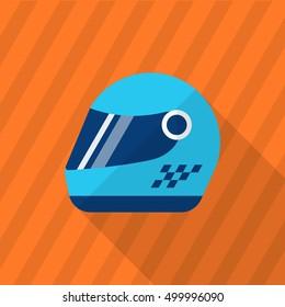 Racing helmets icon, Vector flat long shadow design. Racing concept.