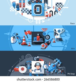 Racing horizontal banner set with win and pit stop elements isolated vector illustration