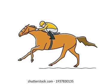 Racing horse and jockey coming to finish line, vector illustration