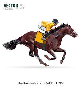 Racing horse with jockey. Equestrian sport. Vector illustration.