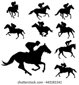 racing horses and jockeys silhouettes 2 - vector