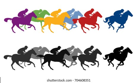 Racing horses silhouettes