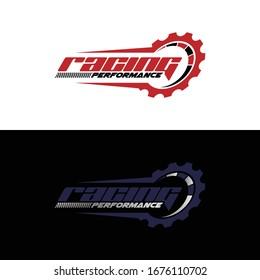 Racing logo design, speedometer icon logo vector