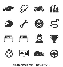 Racing, monochrome icons set. Automobile and motorcycle competitions, simple symbols collection