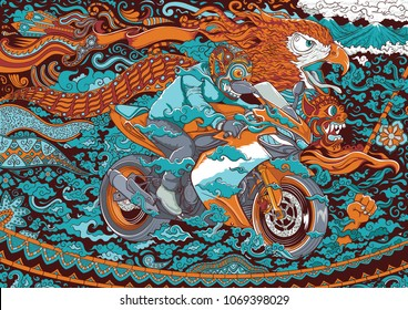 racing motor cycle illustration with eagle and traditional ornaments