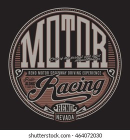 Racing motor typography, t-shirt graphics, vectors