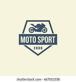 Racing motorcycle logo, badge or icon. Vector Illustration
