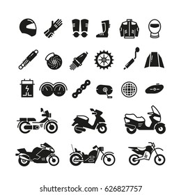 Racing motorcycle, motorbike parts and transportation vector icons