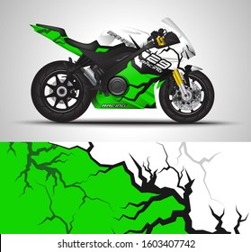 Racing motorcycle wrap decal and vinyl sticker design. Concept graphic abstract background for wrapping vehicles, motorsports, Sportbikes, sport bike and livery. Vector illustration.