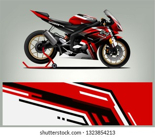 Racing motorcycle wrap design. ready print concept for vinyl wrap and motorcycle decal - Vector