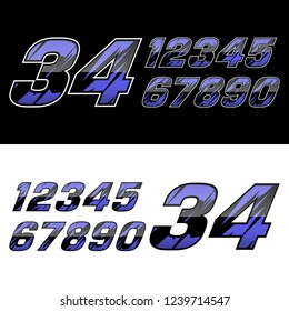 racing number with abstact shape pattern
