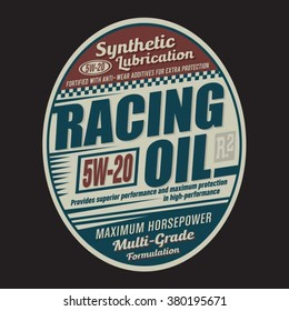 Racing oil typography, t-shirt graphics, vectors
