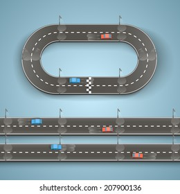 Racing on the road, Circular track road set, Vector illustration