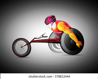 Racing on the sports wheelchair, vector