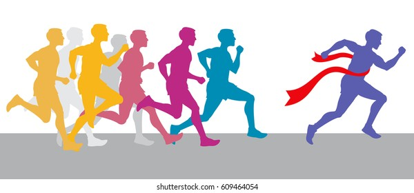 Racing people and winning runner marathon competition vector concept. Sport run competition with athlete, run race marathon illustration