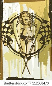 Racing Pinup: Halftone Version Vector illustration of a sexy pinup girl in a leather bikini popping out of a circle holding two checkered flags on a grunge distressed - paint splattered background