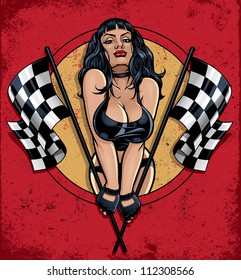 Racing Pinup Holding Checkered Flags. Vector illustration of a sexy pinup girl in a leather bikini popping out of a circle holding two checkered flags on a grunge distressed background