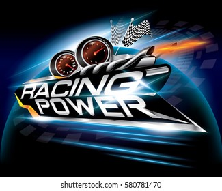 Racing Power with Checkered Flags Concept Design Vector