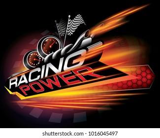 RACING POWER ICON CONCEPT VECTOR
