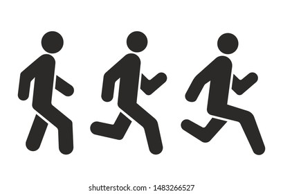 Racing, running and walking icon - Vector icon