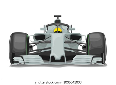 Racing Silver Car With Protection Front View Vector Flat Color Illustration Isolated On White Background