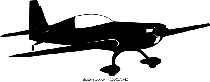 Racing single aircraft with fixed landing gear. Black silhouette of an airplane on a white background. Vector illustration.