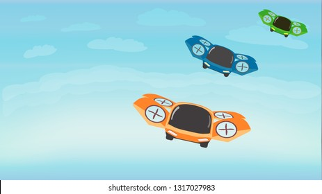 Racing in Sky on Flying Sports Cars. Futuristic Technology. Cartoon Composition. Flat Style. Vector Illustration. Drones and Our Future. Banner. Cartoon Flying Machines. Different Colors.