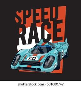 Racing speed car typography, t-shirt graphics, vectors