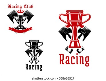 Racing sport club icons or symbols with crowned champion trophy cups and crossed pistons on the background, framed by empty ribbon banner and headers Racing Club