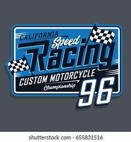 Racing sport motorcycle typography, tee shirt graphics, vectors