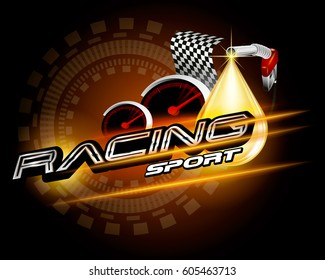 Racing sport with pump head and drop oil vector concept for design