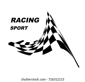 Racing sport. Starting and finishing flags. Checkered flag.