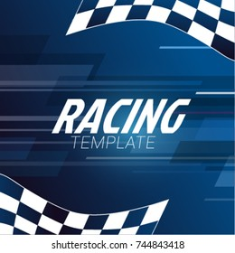 Racing square background with checkered flag on a blue background.