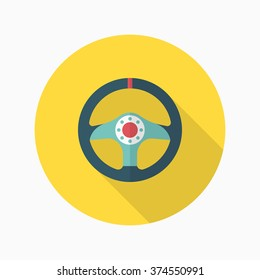 Racing Steering wheel helmets icon, Vector flat long shadow design. Racing concept.