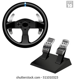 Racing Steering Wheel With Metal Paddle Shifters And Pedal Set For Gaming Simulation