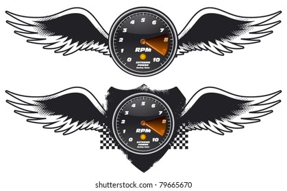 racing tachometer shield with wings